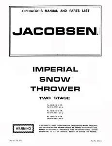 jacobsen imperial snowblower thrower manuals ebay
