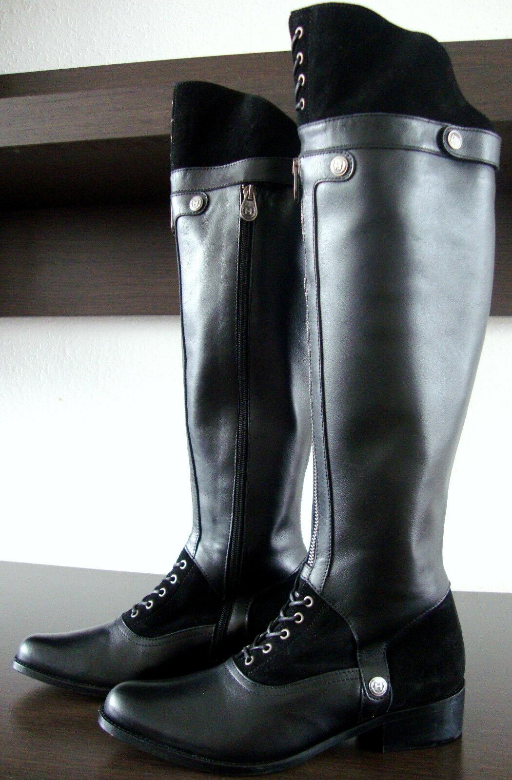HUNTER WARDOUR Kniehöhe Stiefel Schwarz Leder Damen Stiefel Schaftstiefel Schwarz Stiefel Gr38 NEU 06e0e9