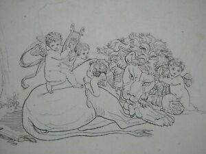 Rare gravure XVIIIème L'amour vainqueur de la Force estampe Bénigne Gagneraux
