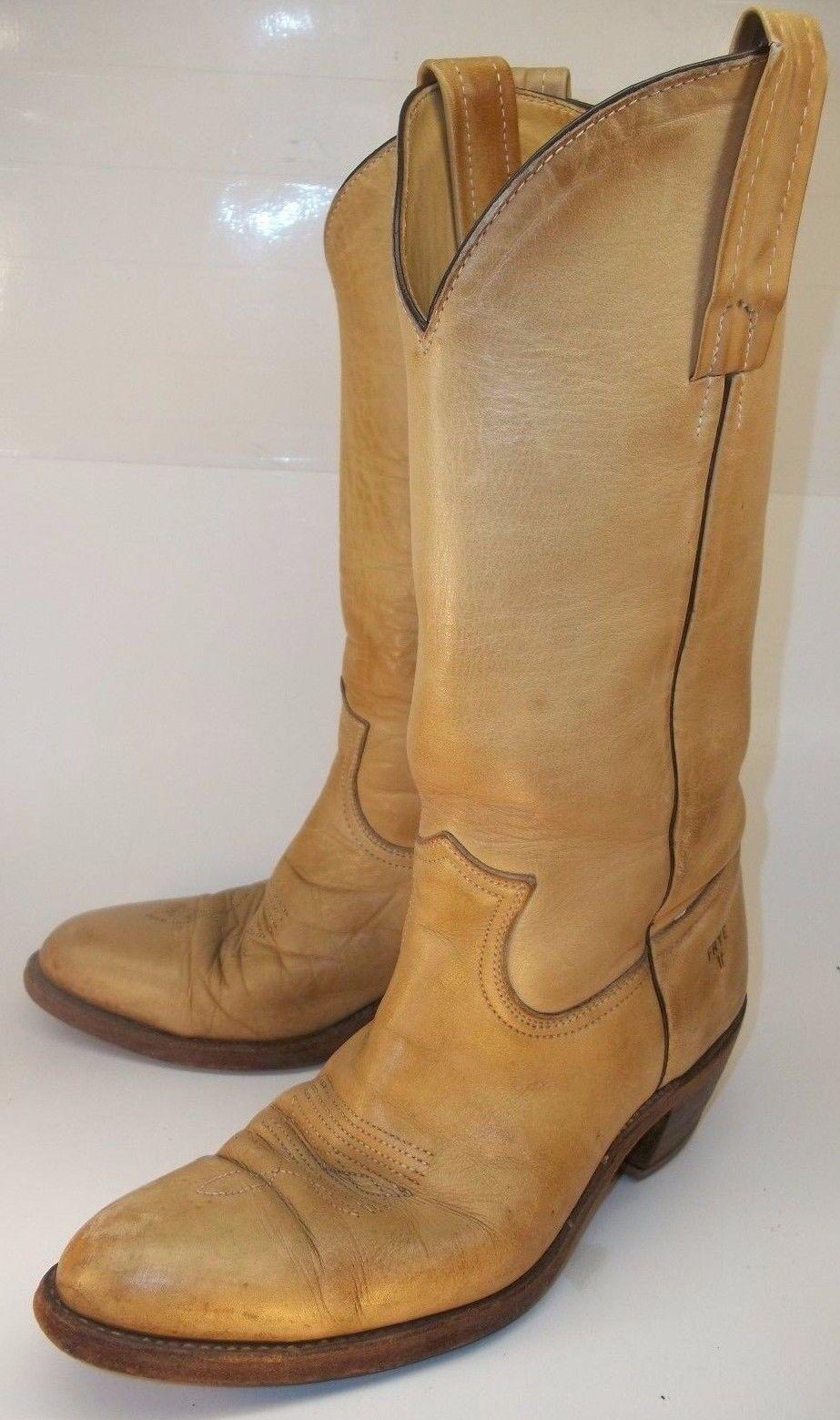 Vintage Frye 2308  Uomo US 7.5D Beige Leder Pull Stiefel On Casual Cowboy Western Stiefel Pull 564169