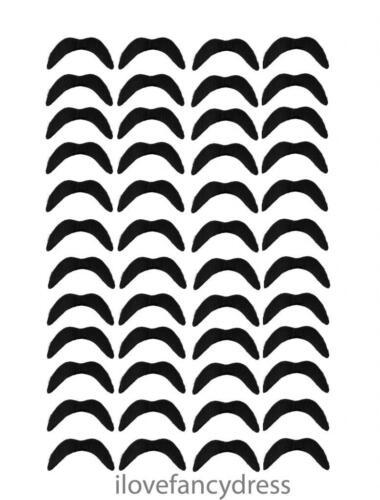 MEXICAN MOUSTACHE BLACK STICK ON FANCY DRESS 70S ACCESSORIES CHOOSE QUANTITY LOT
