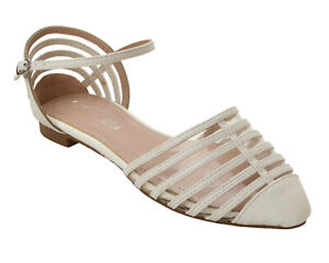 Details about WOMENS WHITE PERSPEX STRAPPY SLIP ON FLAT DOLLY SANDALS SHOES LADIES UK SIZE 3 8