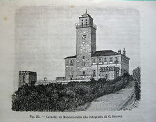 stampa antica ALESSANDRIA Castello di Montecastello  1891