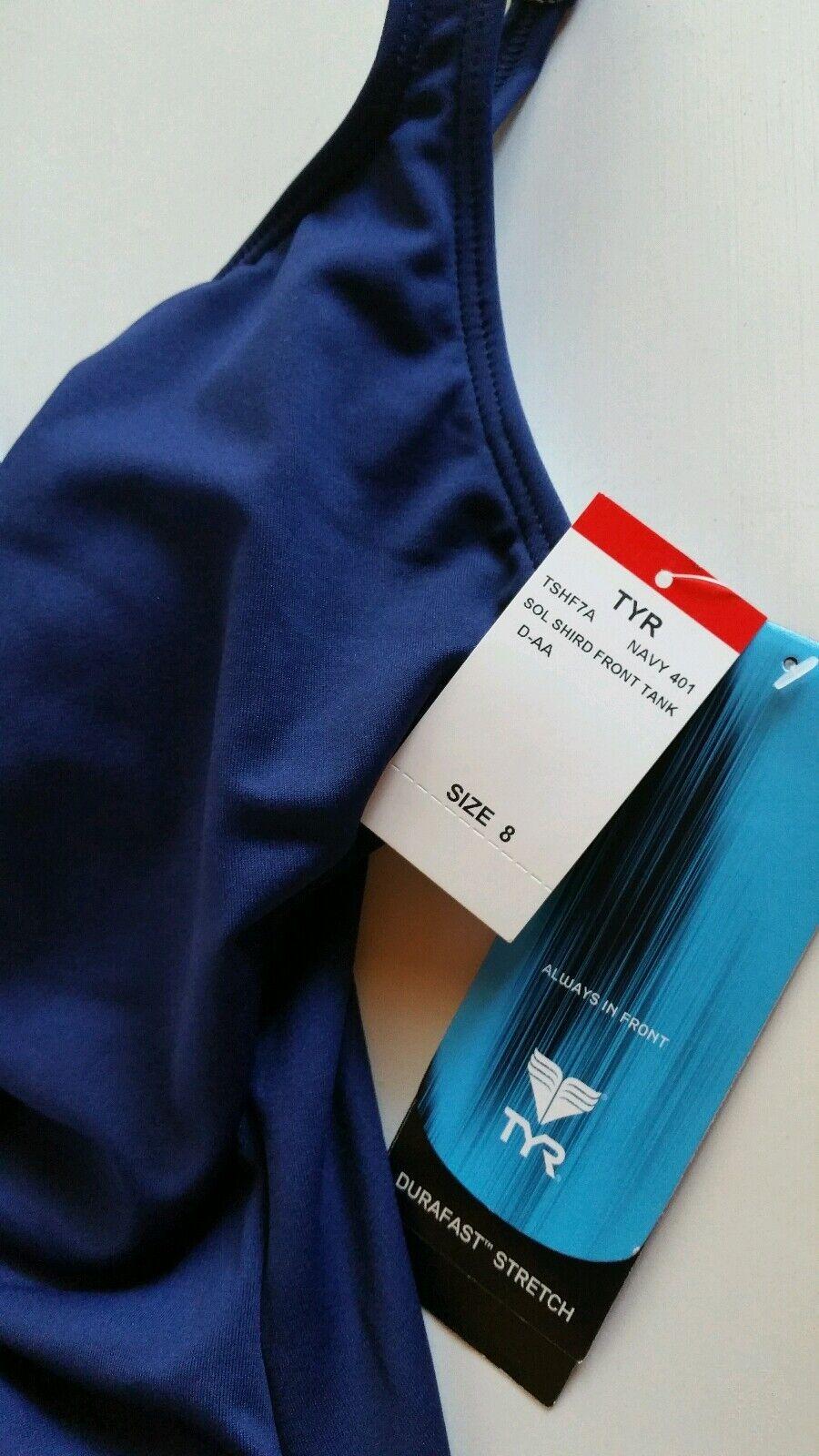 TYR Durafast Stretch Stretch Stretch Navy bluee Shirred Front Swim Suit Women's Sz 8 NWT eb19bd