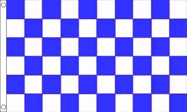 Azul y Blanco Cuadros Funeral Ataúd Drapeado Gigante 8ft X 1.5m Bandera
