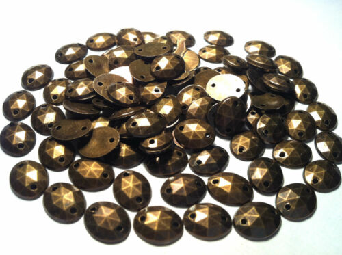 100 x OVAL FACETED Acrylic BRASS sew on Gems stick on STUDS stitch on