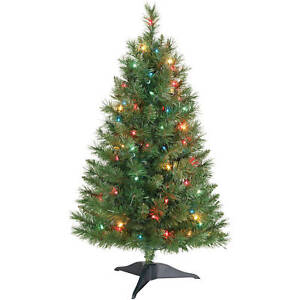 3 Foot Prelit Christmas Trees.Details About Holiday Time Winston Pine 3 Ft Pre Lit Christmas Tree With Multi Color Lights