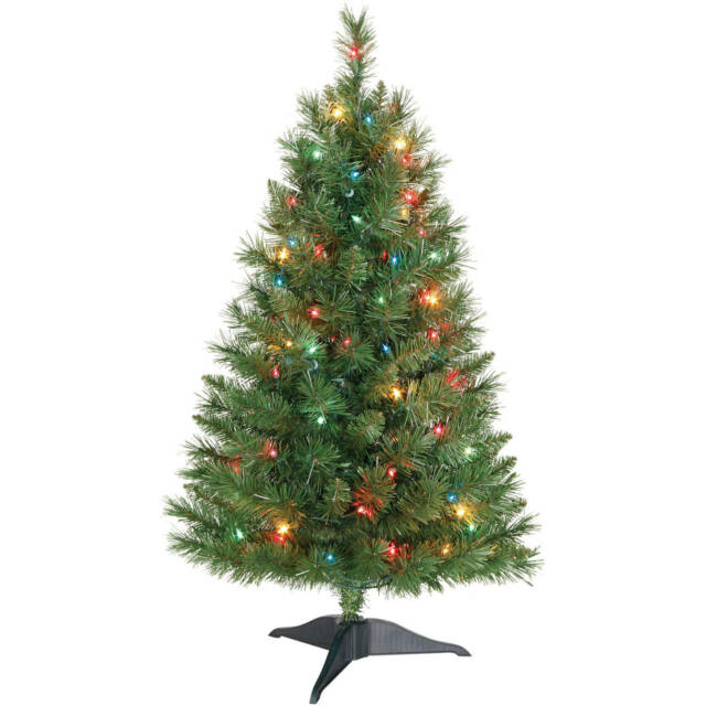 Holiday Time Winston Pine 3 FT Pre-lit Christmas Tree With Multi ...