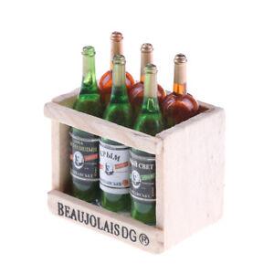 6-Wein-Saft-Flaschen-mit-hoelzerner-Miniatur-Kueche-Trinken-Spielzeug-Puppe-Hn-W0