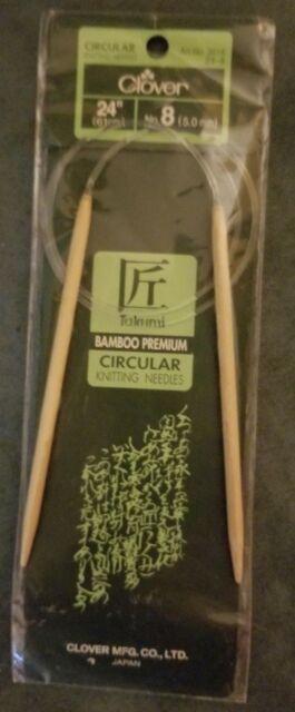 "Circular Knitting Needles Takumi Bamboo US 8 /5mm 24"" /61cm Clover"