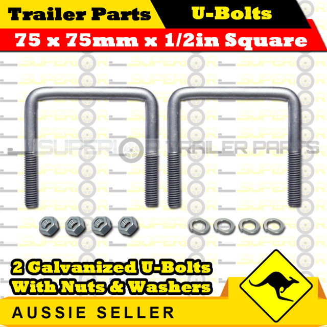 2 x U Bolts 75mm x 75mm Square with Nylock Nuts Hot Dip Galvanized