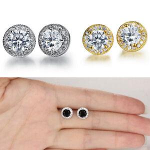 Men-039-s-round-8mm-simulated-diamond-Studs-18k-white-gold-filled-stud-earring-UK-S