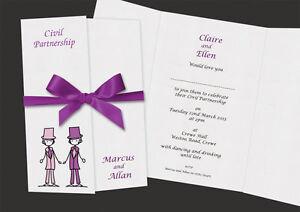 50 PERSONALISED CIVIL PARTNERSHIP WEDDING INVITATIONS, WITH RIBBON & ENVELOPES