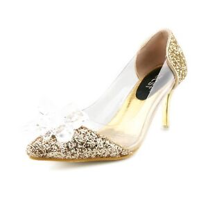 Cinderella Shoes Low Heels Womens Pumps Wedding Party Priness Shoes ... f47b96410ccb
