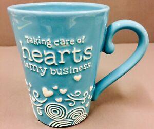 Hallmark-Aqua-Ceramic-Coffee-Tea-Mug-Cup-Nurse-Doctor-Medical-Hearts-Cardiology