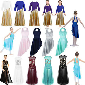Girls-Kids-Lyrical-Praise-Dance-Dress-Mesh-Gymnastics-Ballet-Tutu-Skirt-Costume