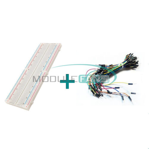 Solderless 830 Tie Points  PCB Breadboard MB102+65Pcs Jumper Cable wires Arduino
