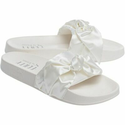best sneakers bbfca 67ca3 Puma X Fenty by Rihanna BOW SLIDES Marshmallow Silver BRAND NEW in BOX 5.5  35.5 190276352122 | eBay