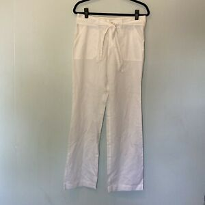 Banana Republic Linen Blend Tie Front Wide Leg Pants White Size 6