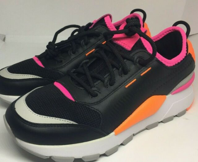 Puma RS-O Running System Black Pink Orange Women Size 7 Shoes New!