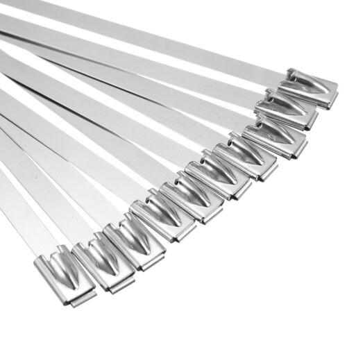 10pcs 304 Stainless Steel Zip Tie Header Wrap Self Locking Metal Cable