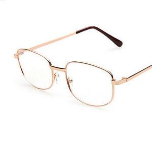 Fashion Lens Rimmed Men's Reading Glasses Gold Metal Frame ...