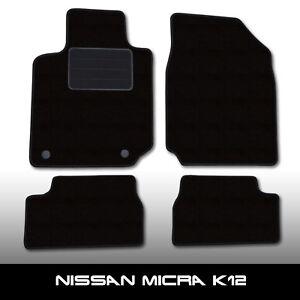 Fussmatten-Nissan-Micra-K12-2003-2010-Schwarz-Autoteppiche-nadelfilz-4tlg