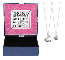 Mother Daughter Heart Necklace Silver 2 Piece Set w/ Gift Box Mothers Day Gifts