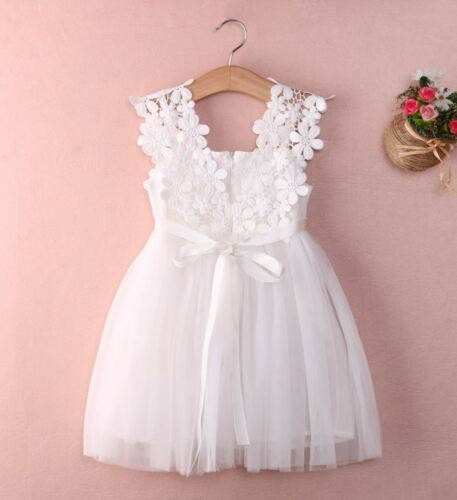 New Baby Kids Clothes Party Birthday Flower Bow White Tulle Lace Girls Dress UK