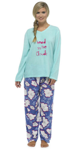 Ladies Fleece Long Sleeve Top Print Pyjamas Sets Nightwear Sizes 8-18 Pjs