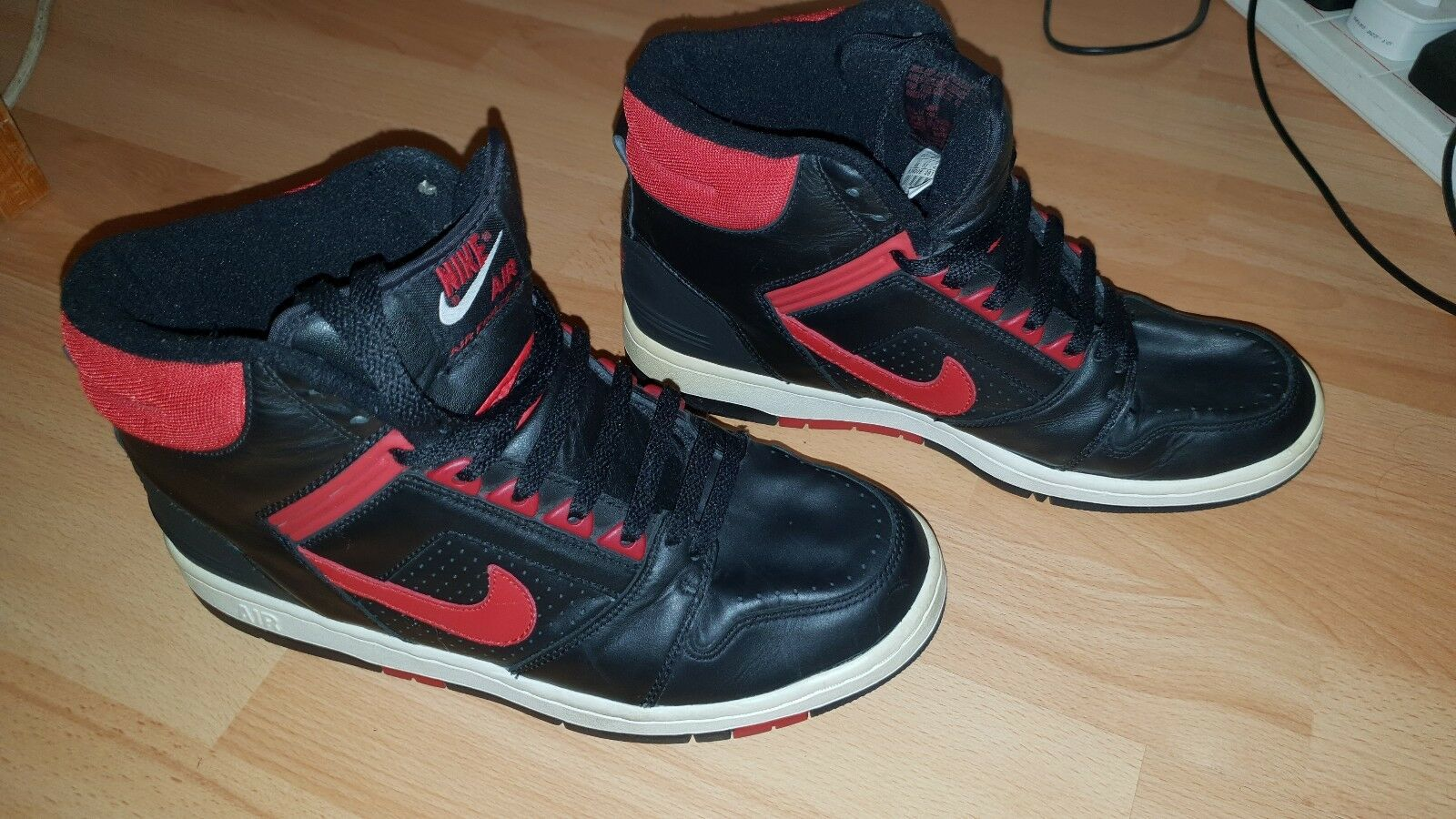 RARE Nike Air Force 2 High Top Black Red Mens Trainers Size UK 8.5