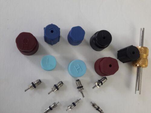 16 pcs AC A//C System Cap /& Valve Cores Schrader Seal Kit Japanese /& Korean //Tool