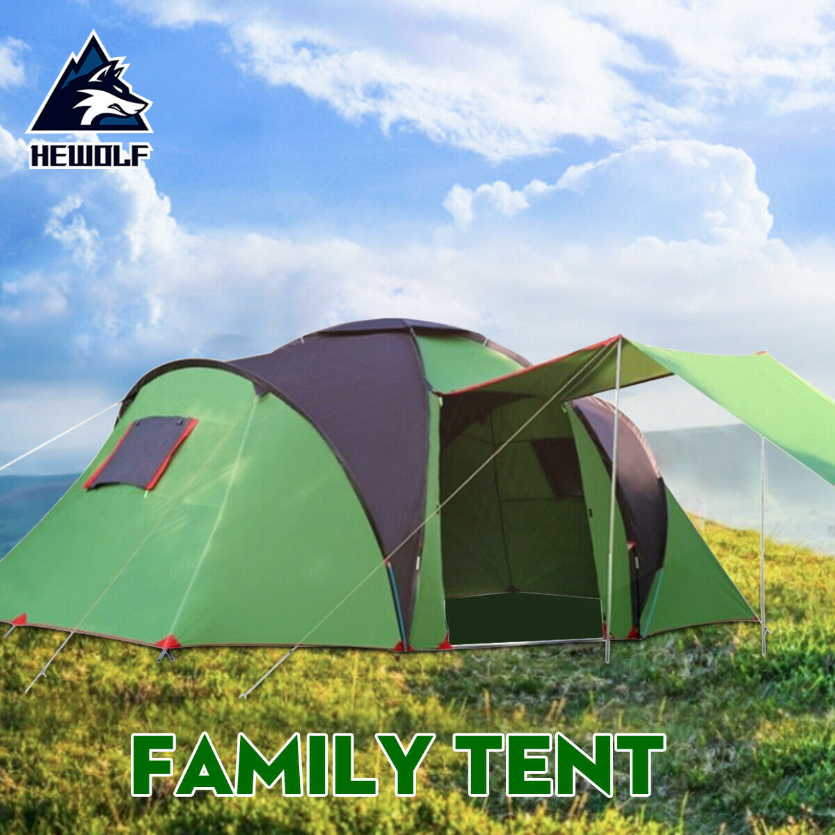 6 Person Large Family Camping Tent Waterproof Hiking Travel 2 Room Outdoor Tents