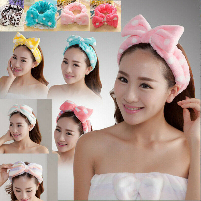 Coiffure et coiffure Big Bow Dot Striped Hairdress Maquillage Bain Douche Bandeau SPA Coloré