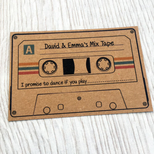 Personalised Wedding Party Song Request Kraft Cards with Colour Retro Fun