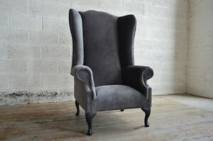 MODERN SLATE GREY VELVET CHESTERFIELD WING ARMCHAIR ...