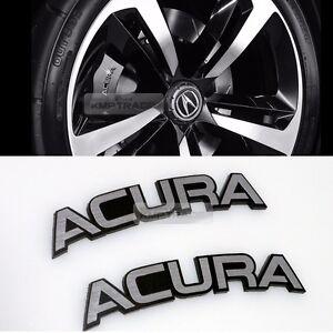 Logo Brake Point Caliper Emblem Badge Hairline Metal Black Pcs For - Acura emblem black