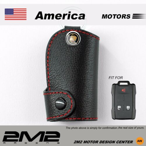 Leather Key fob Holder Case Chain Cover FIT For chevrolet 2014-2016 Silverado