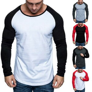 Mens-Pleated-Long-Sleeve-Crew-Neck-T-shirt-Casual-Slim-Basic-Tee-Pullover-Tops