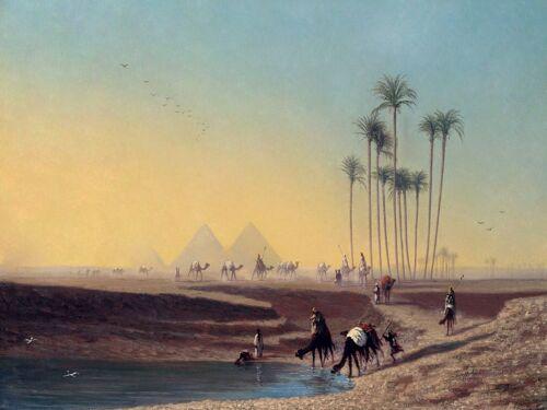 OASIS C Frere camel palms water pyramid Tile Mural Backsplash Marble Ceramic