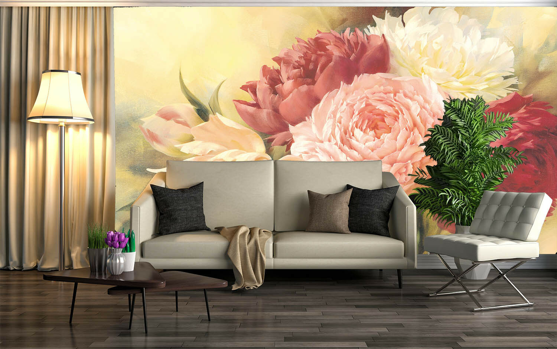 3D Flower Pattern 827 Wallpaper Mural Paper Wall Print Wallpaper Murals UK Lemon