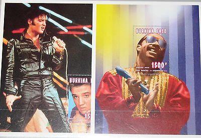 Briefmarken Zielsetzung Burkina Faso 1996 Block 161-62 1063-64 Elvis Presley Stevie Wonder Music Mnh