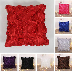 3D-Rose-Flower-Satin-Pillow-Case-Sofa-Waist-Throw-Cushion-Cover-Home-Decor-New