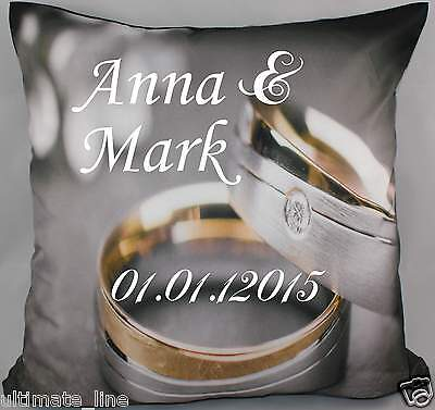 """Personalised Wedding Cushion Pillow Printed Text 40cm x 40cm-16"""" Engagement Ring"""