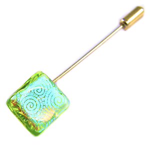 Stick-Pin-DICHROIC-Fused-Glass-Teal-Green-Lime-Gold-Spiral-Metallic-12mm-1-2-034
