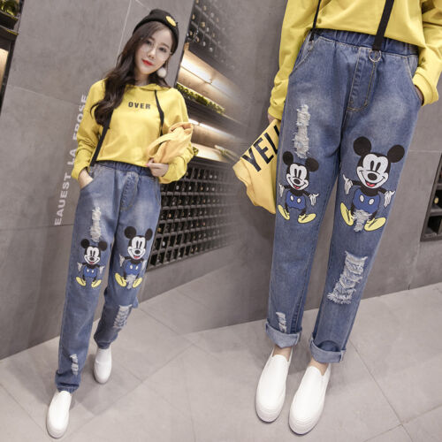Women Denim Mickey Mouse Pants 2018 Vintage 90s Holes Ripped Jeans High Waist