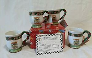 Vintage-MARY-ENGELBREIT-Home-Sweet-Home-Christmas-Mug-set-of-4-By-Enesco