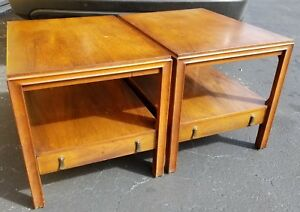2-Mount-Mt-Airy-Mid-Century-Danish-Modern-End-Side-Tables-Nightstands-w-Drawers