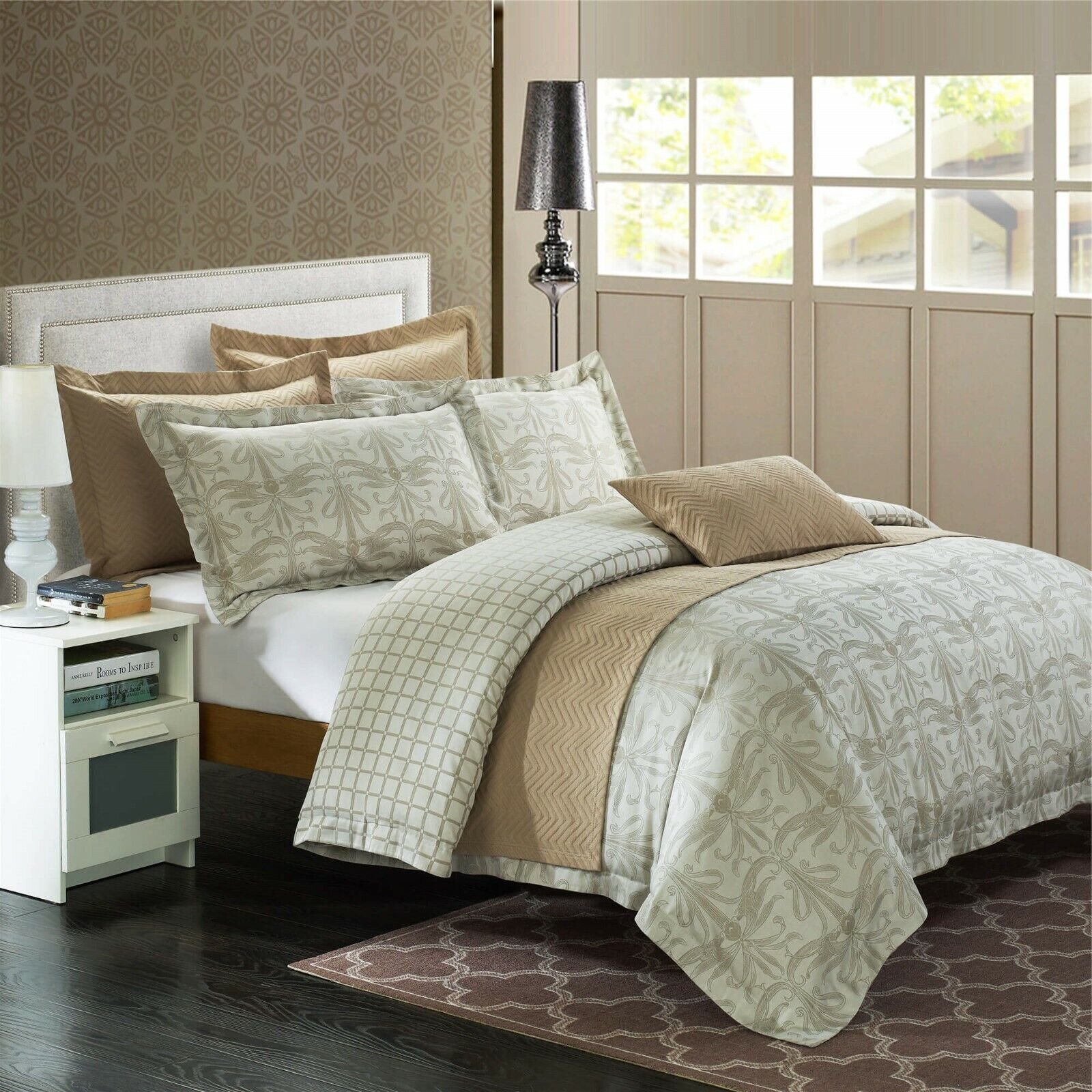 North Home Elite Regency Jacquard Cotton FULL QUEEN Bedding Ensemble 7pc   230