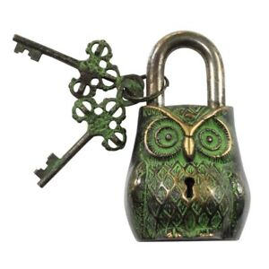ANTIQUE Style OWL Type Padlock - Lock with Key - Brass Made Black Style (5051)